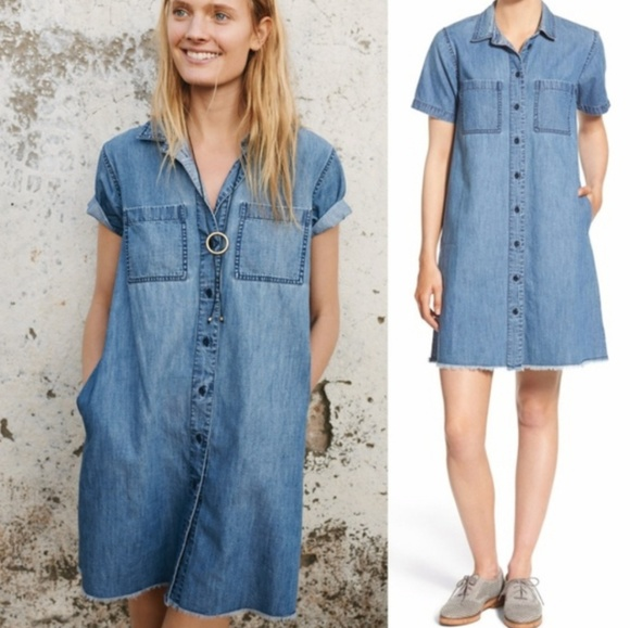 1aa457ebe0a Madewell Dresses & Skirts - MADEWELL BLUE DENIM RAW EDGE DRESS